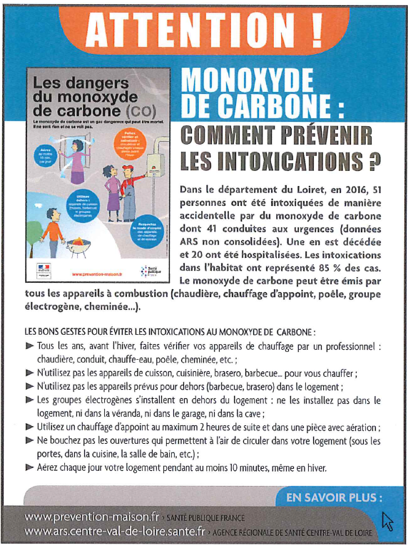 Les dangers du monoxyde de carbone - Commune de Boynes
